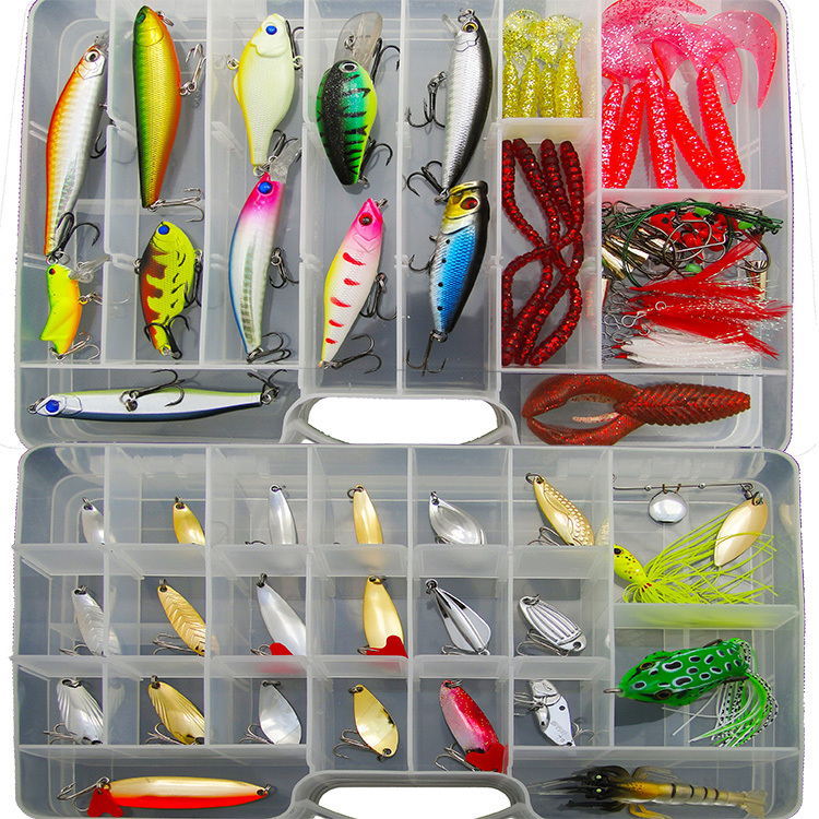 Free shipping 105 pieces lures bait lure suit Lure soft bait lures fishing bait freshwater bionic suit with sequins<br>