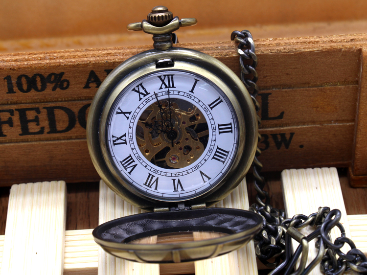 Roman Numerals Skeleton Watches Steampunk Pocket Watch With Chain 2 Sides Open Case Luxury Brand Mechanical Pocket Watch<br><br>Aliexpress