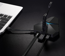 All in 1 USB AC/DC Adapter with LED 3 Ports USB 2.0 Hub with Micro SD Reader Multi-Function USB Charger