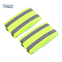 2pcs/Pair Green High Visibility Double Reflective Wristband Bracelet band Running night Cycling Jogging Safety reflector armband
