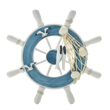 "Home Decoration 23cm 9""Beach Wooden Boat Ship Rudder Fishing Net Home Wall Nautical Decorations wheel Wood Craft Gift(China)"