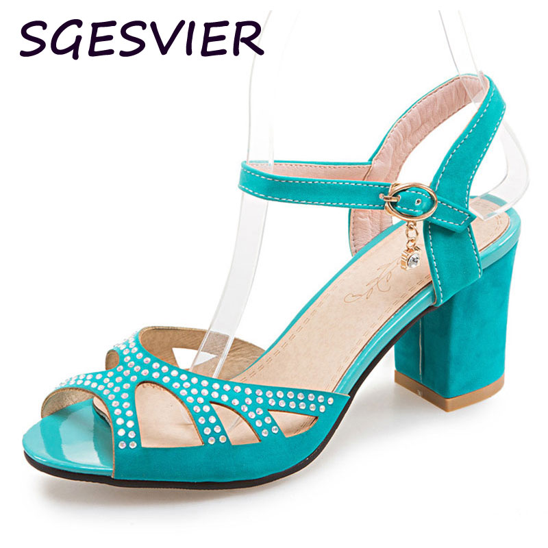 SGESVIER Women sandals women Summer shoes peep-toe OL Shoes sandals mujer sandalias Ladies Buckle Strap Sandal Rhinestone 1968<br><br>Aliexpress