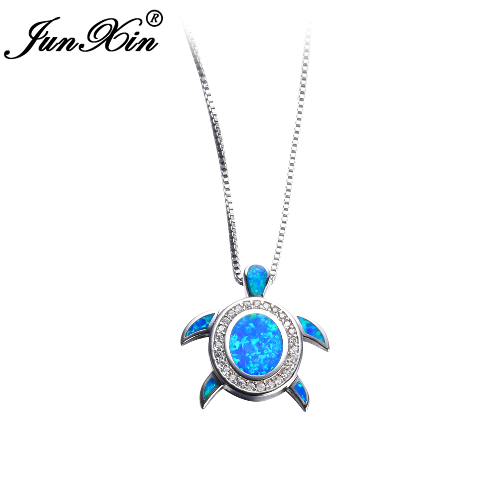 JUNXIN Women Blue Opal Turtles Necklace New Fashion Animal Wedding Jewelry 925 Sterling Silver Filled Necklaces Pendants Gift(China (Mainland))