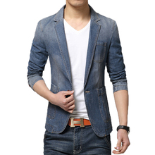 High Quality Fashion Spring Blazer Men Slim Single-button Denim Blazer Men Casual Cotton Blue Blazers Size M-XXXL Free Shipping