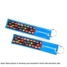 New Blue Boeing Luggage Tag Travel Luggage Tag with world national flags Embroidery, Gift for Pilot Airman(China)
