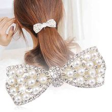 Hot Sale Fashion Baby Girls Crystal Rhinestone Bow Hair Clip Beauty Hairpin Barrette Head Ornaments Hair Accessories(China)