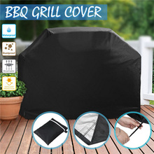 Black Waterproof BBQ Cover Outdoor Rain Barbecue Grill Protector Anti UV Anti-dust for Gas Charcoal Electric Barbeque Grill