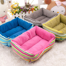 1pc Winter Square Colorful Striped Velvet Warm Canvas Kennel Dog Bed House Sofa Pet Dog Cat Warm Bed Mats Doghouse 2102DB