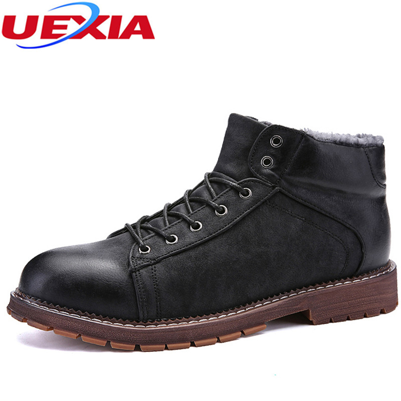 UEXIA Warm Fur Men Snow Shoes Flats Retro Plush Ankle Winter Autumn Casual Platform Outdoor Man Shoes Comfort Business Footwear<br>