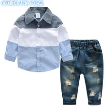 Boys Clothing Set Spring Children's Sets Gentleman Long Sleeve Shirt + Children Broken Hole Pants 2 pcs Boys Tracksuit Sets(China)