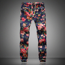 Linen Pants Men 2017 New Fashion Men Floral Print Joggers Male Casual Summer Pants Mens Sweatpants