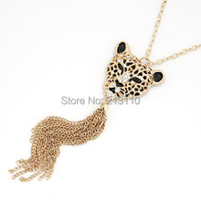 Korean Fashion Long Retro Tiger Pendant sweater chain Necklace For Women Simple Metal Pendant Necklace