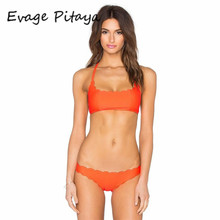 soild orange Bikini Set 2017 bikini brazilian Swimsuit bathing suit women Vintage Bathing Suit sexy swim suit ladies