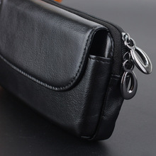 4to6 inch Zipper Genuine Leather Vintage Snap Button Belt Hip Fanny Pack Waist Bag Purse For OPPO VIVO Phone Case B89(China)