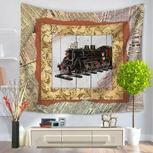 130x150cm Home Decorative Wall Hanging Carpet Tapestry Rectangle Bedspread Vintage Train Plane Pattern Table Cloth