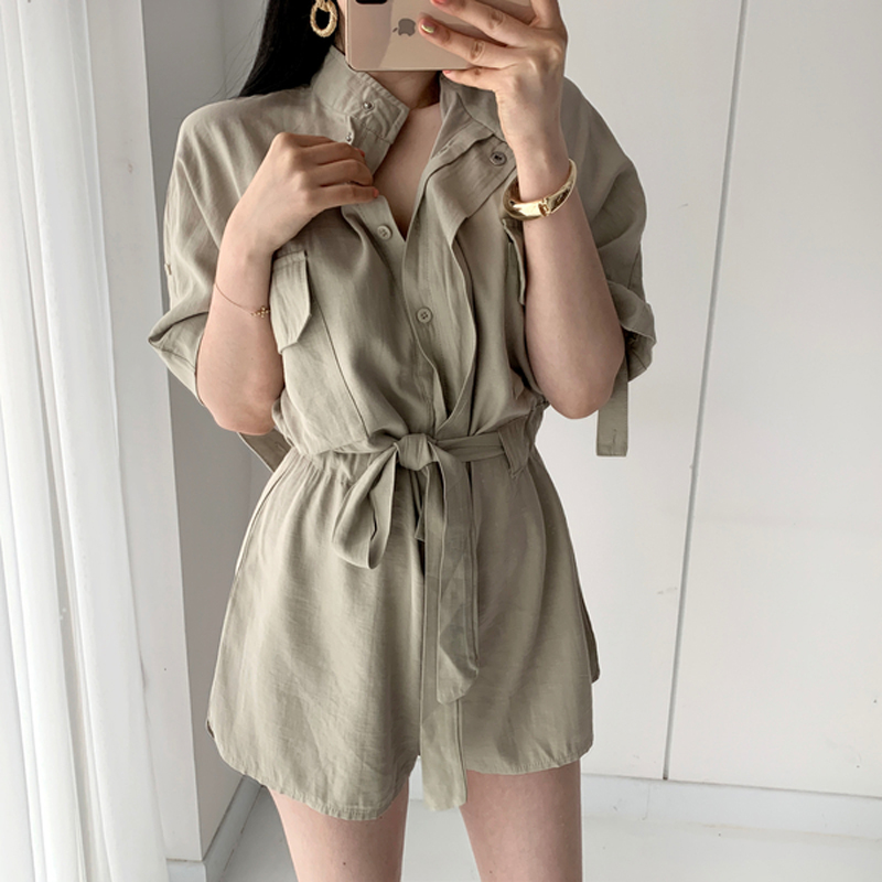 2019 Casual Women Jumpsuit Romper Pockets Sashes Button Up Summer Female Playsuit Vintage Loose Overalls Cargo Jumpsuits Korean