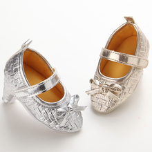 Photography Gold Baby Shoes Girls Infant High heels Bow Leather Kids Sneakers Brand Soft Sole Pointed Toddler Flat Slippers 0-1Y(China)