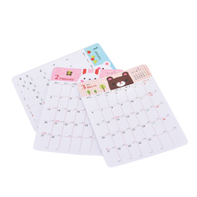 13 Sheets/set Monthly Planner Paper Stickers Students Notebook Calendar Mini Cute Cartoon Animal Design Bookmark Supplies