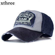 Xthree wholesale baseball cap snapback hat spring cotton cap hip hop fitted cap cheap hats for men women summer cap(China)