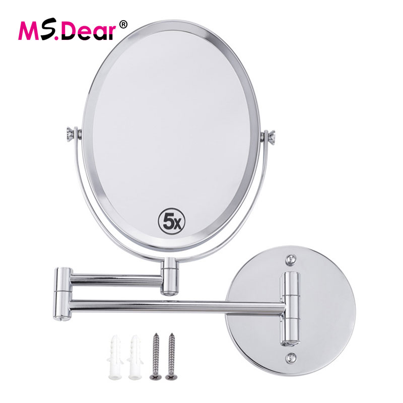 5X Magnifying Beauty Makeup Mirror Wall Mounted Bathroom Toilet  Foldable Double Sided Mirror Design Cosmetic Chrome Mirror<br>