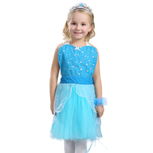 Kids Elsa Sparkly Fun Flirty Tutu Apron Girls Ice Queen Costume Pretty Dress-up Impress Guests At Your Next Party(China)