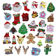 New arrival 10 pcs Christmas Series Cartoon Patches Embroidered patches iron on holiday Motif Applique embroidery accessory diy(China)