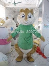 green coat chipmunk mascot costumes, red and green coat high quality brown fur(China)