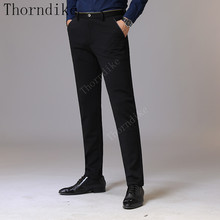 Thorndike Men 옷 2018 Autumn New Men's Stretch 캐주얼 Black Pants Business 패션 Solid Color 면 Trousers 남성 Brand(China)