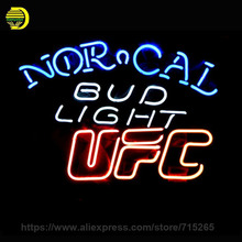 Neon Signs For BUD LIGHT NORCAL UFC Handmade Real Glass Tube Neon Bulbs Neon Light Sign Bright Lamp Decorate Room Display 17x14