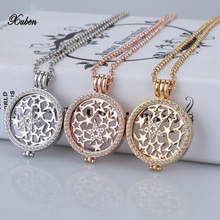 2017 hot selling rose gold 35mm coin holder pendant necklace fashion for women jewelry gift my 33mm coins necklaces set fit 80cm(China)