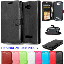 Amazing Case For Alcatel One Touch Pop C7 Flip Leather Wallet Cover Case For Alcatel C7 phone case with Card Holder Back Cover