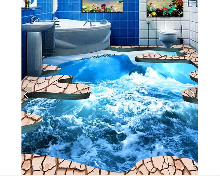 3D wallpaper custom 3d floor painting wallpaper Sea ice to crack the bathroom bathroom 3 d floor 3d sitting room photo wallpaper<br>