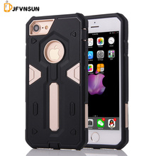 "For iPhone 7 4.7"" NEW Hybrid TPU+PC Hard Plastic Armor Case For iPhone 7 Slim Dual Color Rubber Dustproof plug Phone Back Covers"