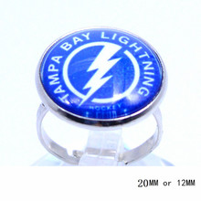 Tampa Bay Lightning Team Ring Ice Hockey Charms NHL Sport Jewlery Round Glass Dome Silver Plated  Ring For Women Girl Adjustable
