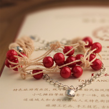 Wholesale Red Beans Retro Ornaments Personality National Wind Bracelet Red Lead Girl Honey Hand String Simple Nature Anklet(China)