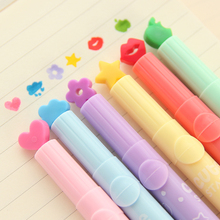 freeshipping 12pcs Creative crayons children stamp highlighter marker pen flashlight luminous pen