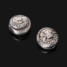 Hot 90pcs DIY Antique Silver Plated Beads Zinc Alloy Beads 8*8mm Chinese Dragon Beads Charm for Jewelry Making