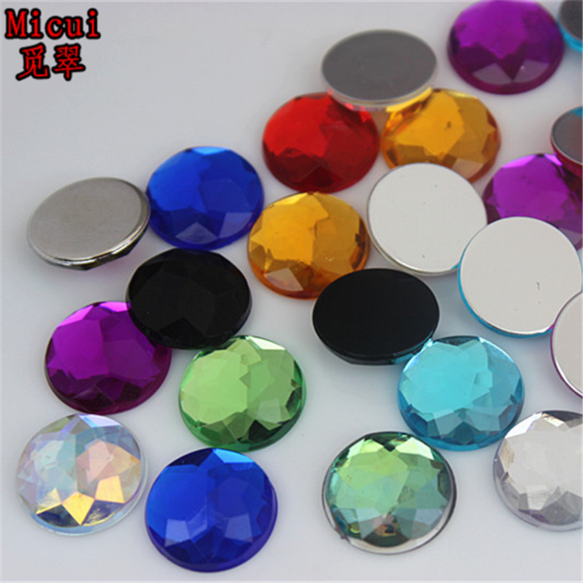 50PCS 14mm Round Acrylic Flat Back Crystal Beads Rhinestones Diy crafts ZZ92