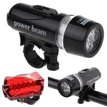 Outdoor Dynamic Waterproof 5 LED Lamp Bike Bicycle Front Head Light + Rear Safety Flashlight Set camping cycling Accessories