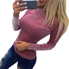 Spring T Shirts Top 2017 New Velvet T-shirt Autumn Women's Velvet Tops Long Sleeve Solid Button Ladies Slim Tee Shirts GV508(China)
