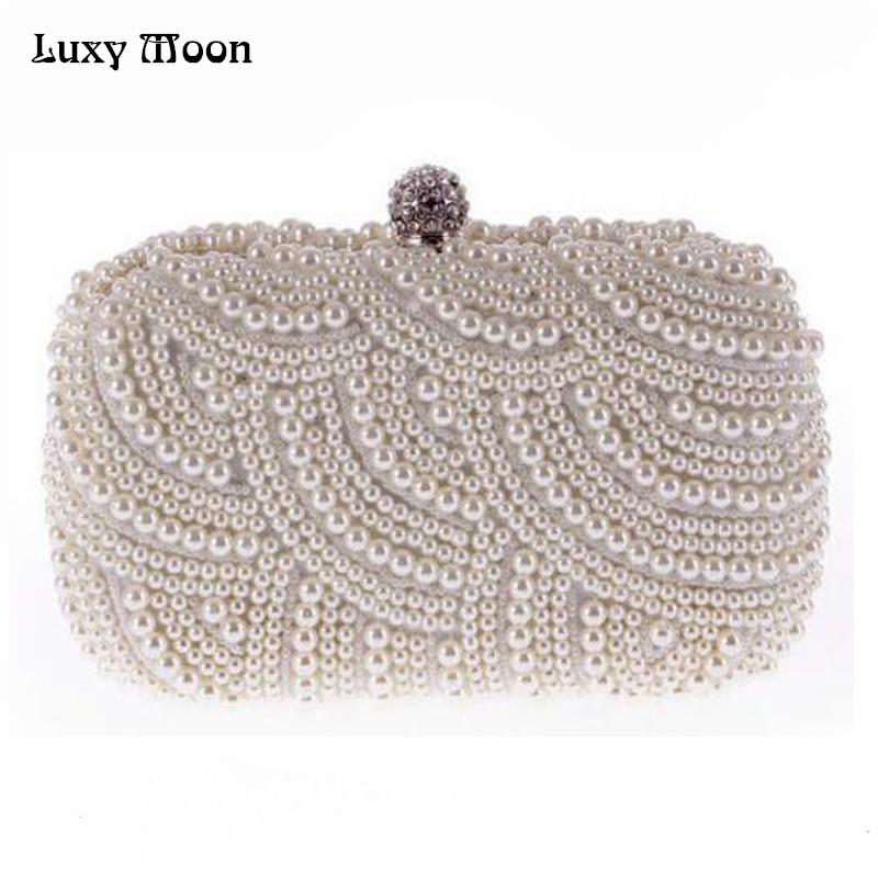 100% Hand made Luxury Pearl Clutch bags Women Purse Diamond Chain white Evening Bags for Party Wedding black Bolsa Feminina(China)