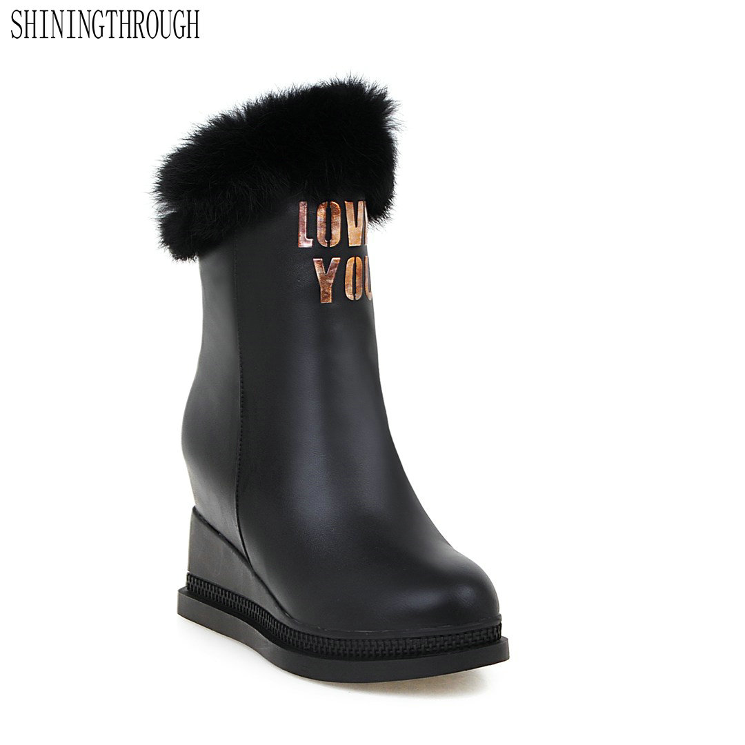 SHININGTHROUGH shoes 2018 modern casual warm winter fur black round toe platform ankle boots high thick heels lace-up shoes<br>