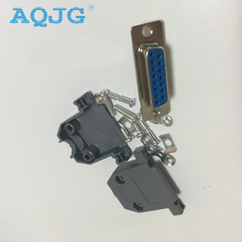 10pcs/L Parallel Serial Port DB15 15 Pin 15 Way D Sub Female Solder Connector Male Plastic Assemble Shell Cover VGA Adapter AQJG