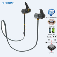 PLEXTONE BX343 double battery V4.1 magnetic wireless bluetooth earphone sport waterproof headset endurance metal music headphone(China)