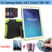 Anti-Knock Cover For Samsung Galaxy Tab E 9.6 T560 Case Armor Kickstand Silicone Cover for Samsung Galaxy Tab E T560 T561 Case(China)