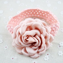 23 colors big size burned satin flowers kids headbands rosette chiffon peony Knitted hair band large Dancing Flower(China)