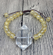 YA2544 Natural Clear Quartz Double Point Yellow Quartz Stone 8mm Round Stone Beads Cord Knot Bracelet Adjust 7inch long
