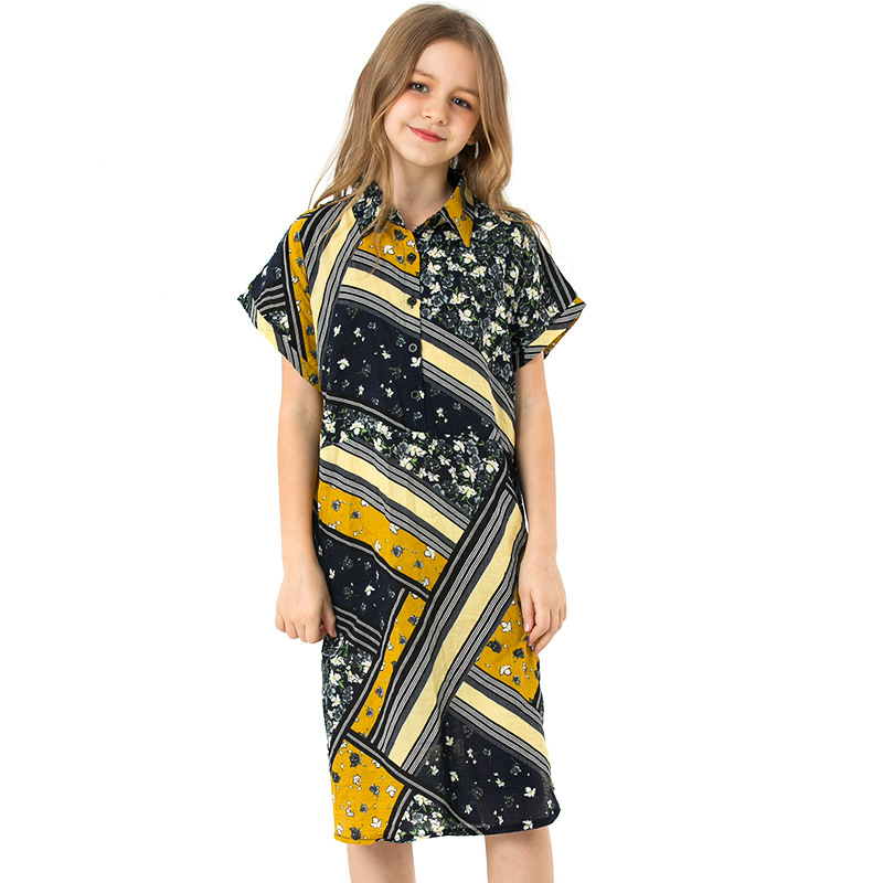 girl chiffon print dresses 2019 European girls princess dress fashion high-grade children beach dresses kdis party dress