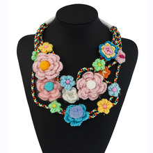 Colorful Flowers Necklace Women Big Flower Necklace Chokers Hollow Multilayer Knitted Necklace Womens Pom Pom Necklace Duftgold