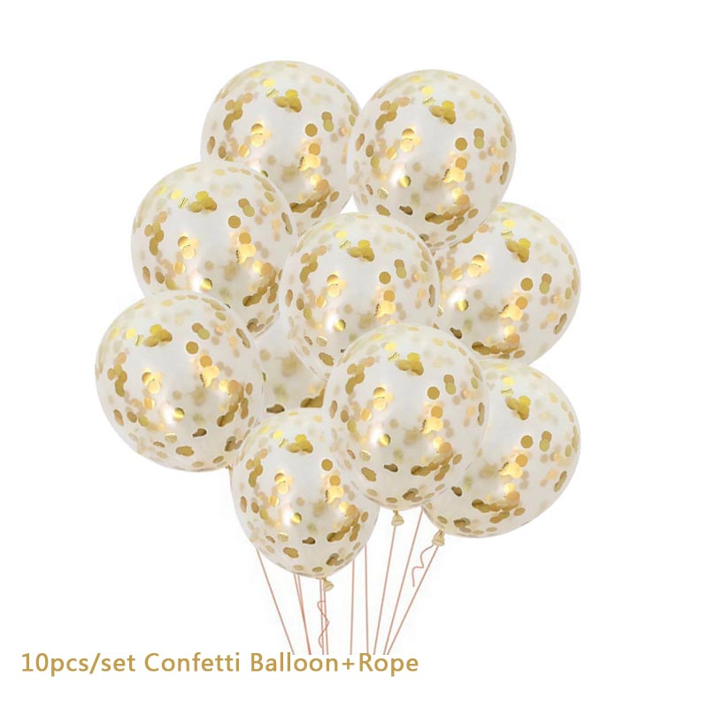 Hoomall 10/14PCs Confetti Air Balloons With Rope Heart Star Gold Champagne Latex Helium Balloon Wedding Decorations Party Supply 17